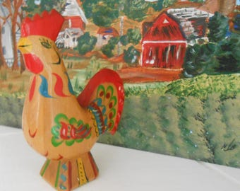 Scandinavian Wood Folk Art Wooden DALA Rooster Figurine / Hand Carved > Hand Painted Painted > Unmarked