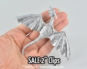 """SALE - Discounted """"Seconds"""" - Silver Coloured Baby Dragon 2"""" Hair Clips"""