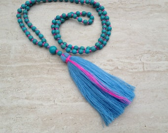 Powder Blue Tassel Necklace Turquoise Tassel Necklace Hand Knotted Beaded Tassel Necklace Statement Necklace Long Tassle Tiered Necklace