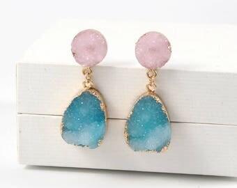 Clearwater Druzy Drop Earrings, Gemstone Earrings, Gold Earrings, Wedding Earrings, Bridesmaid Earrings, Druzy Quartz, Raw Stone,