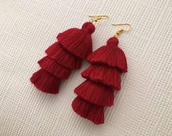 Burgundy Earrings, Tassel Earrings, Long Earrings, Drop Earrings, Dark Red Earrings, Boho Earrings, Modern Jewelry, Gift for Women, Friend