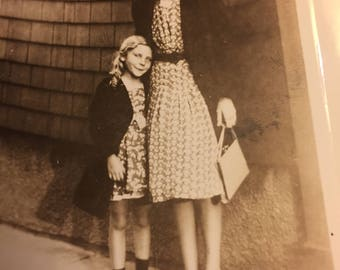 A Girl and Her Granny - 1941 Black & White Photo