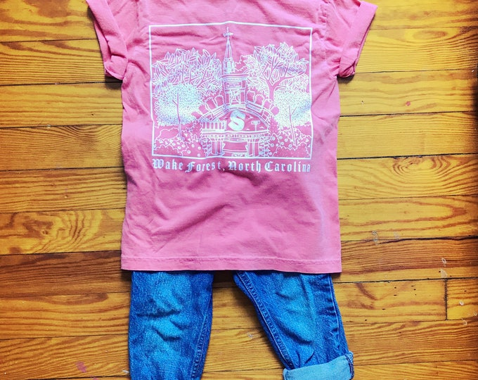 Downtown Seminary, Wake Forest NC, Elle Karel Illustration Print on Comfort Colors Youth T-shirts, 100% Cotton