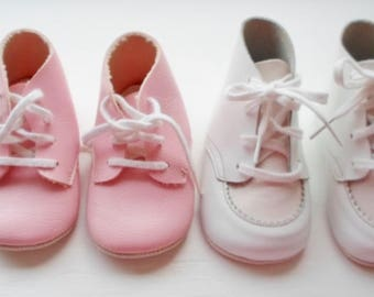 Vintage Infant Baby Shoes, 2 Pair, 1 Pink, 1 Pink & White, Like New, Lace Up Closure, High Top Shoe, Baby Shoe, Crib Shoe,  Leather Soles