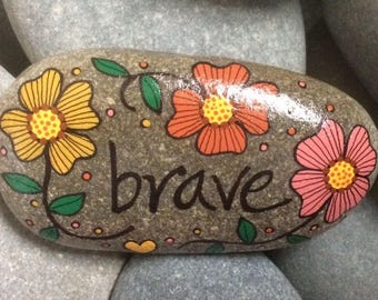 Happy Rock - Brave - Hand-Painted Beach River Rock Stone - gold orange flowers pansy petunia yellow heart strong