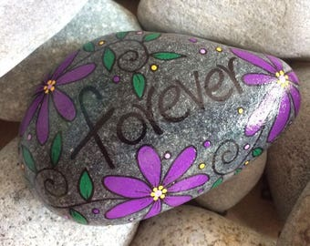 Happy Rock - FOREVER - Hand-Painted Beach River Rock Stone - flower garden purple lilac violet daisy pansy