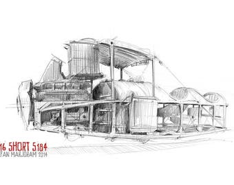 1916 Short S184 aeroplane - Original A3 Pencil Sketch