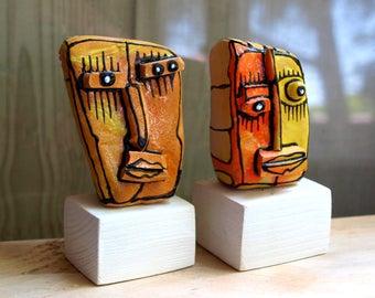 Mini ceramic art, family portrait art, Shelf art, Desk sculpture, Gift for the couple, Mini sculpture, Head sculpture, couple gift, 99heads