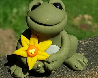 MADE TO ORDER Polymer clay daffodil frog