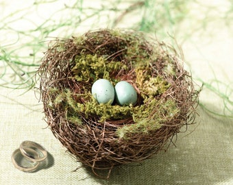 Wedding Bird Nests, Craft Nests with Faux Eggs, Bird Nest, Bird Nest with Eggs and Moss, Floral Bird Nest, Craft Supplies Nests