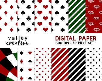 Game Night - Hearts Diamonds Spades Clubs - Poker - Digital Scrapbook Paper - 300 DPI - Instant Download
