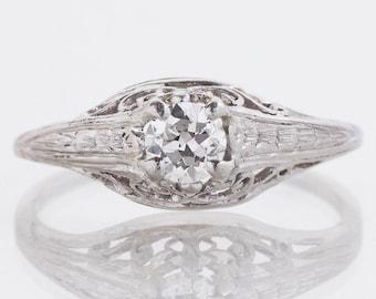 Antique Engagement Ring - Antique Edwardian Platinum Diamond Engagement Ring