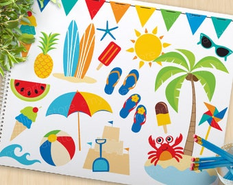 A Day At The Beach Clipart, summer clip art, surfing, surfboards, umbrella, beach ball, commercial use, vector clipart, SVG Cut file