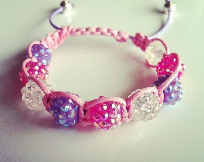 Transparent purple pink adjustable Shamballa #29 bracelet