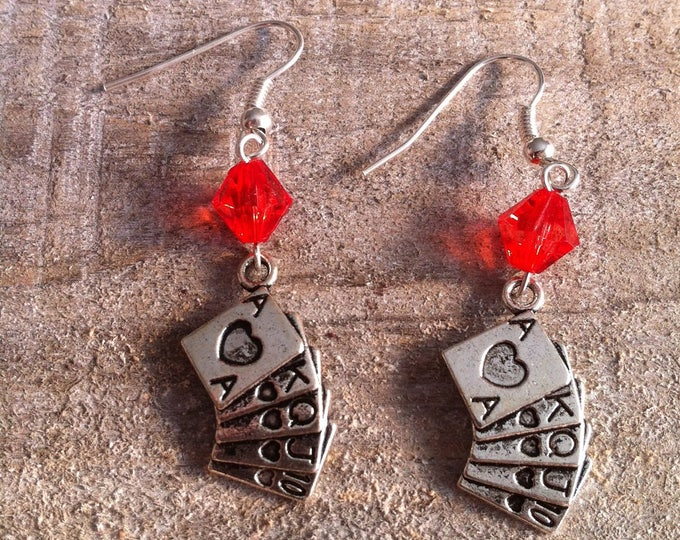 Poker red bead Silver earrings