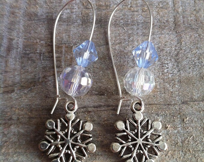 Snowflakes earrings large silvery blue sky 2 clasps