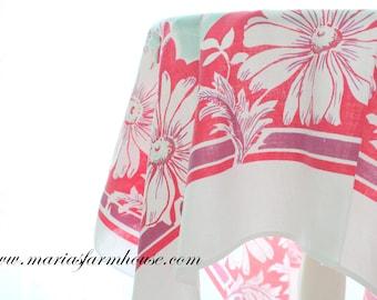 TABLE COVER, Retro Cotton Tablecloth, Red and Soft Aqua Colors, Farmhouse Kitchen Decor, Tea Party
