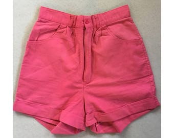 Vintage 80s Bright Pink High Waisted Pleated Cuffed Shorts. Size XS