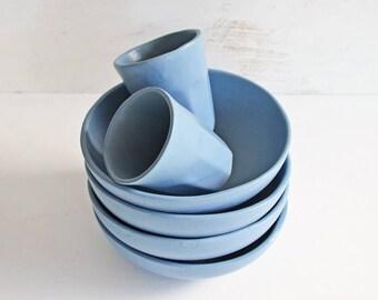 ON SALE - 6 Pce Ceramic Bowl and Cup Set - Ceramic Bowls - Ceramic Tumblers