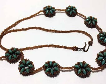 Green Brown Necklace Bead Circle Necklace Beadwoven Necklace Bead Woven Necklace Beadwork Necklace Seed Bead Necklace Green Bead Necklace