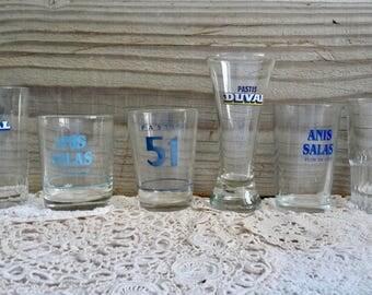 Vintage Collection of 6 PASTIS GLASSES, Original, Different Bistro Glasses. Anisette Glasses.