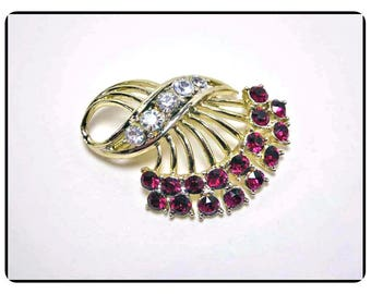 Vintage Silver Tone & Red Rhinestone Brooch - Signed Coro Ruby Red Rhinestone Pin - Vintage 1950's Mid Century Jewelry Pin-1380a-021017015