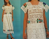 1970s / 80s White Tiered Lace Embroidered Mexican-Style Floral Folk Dress