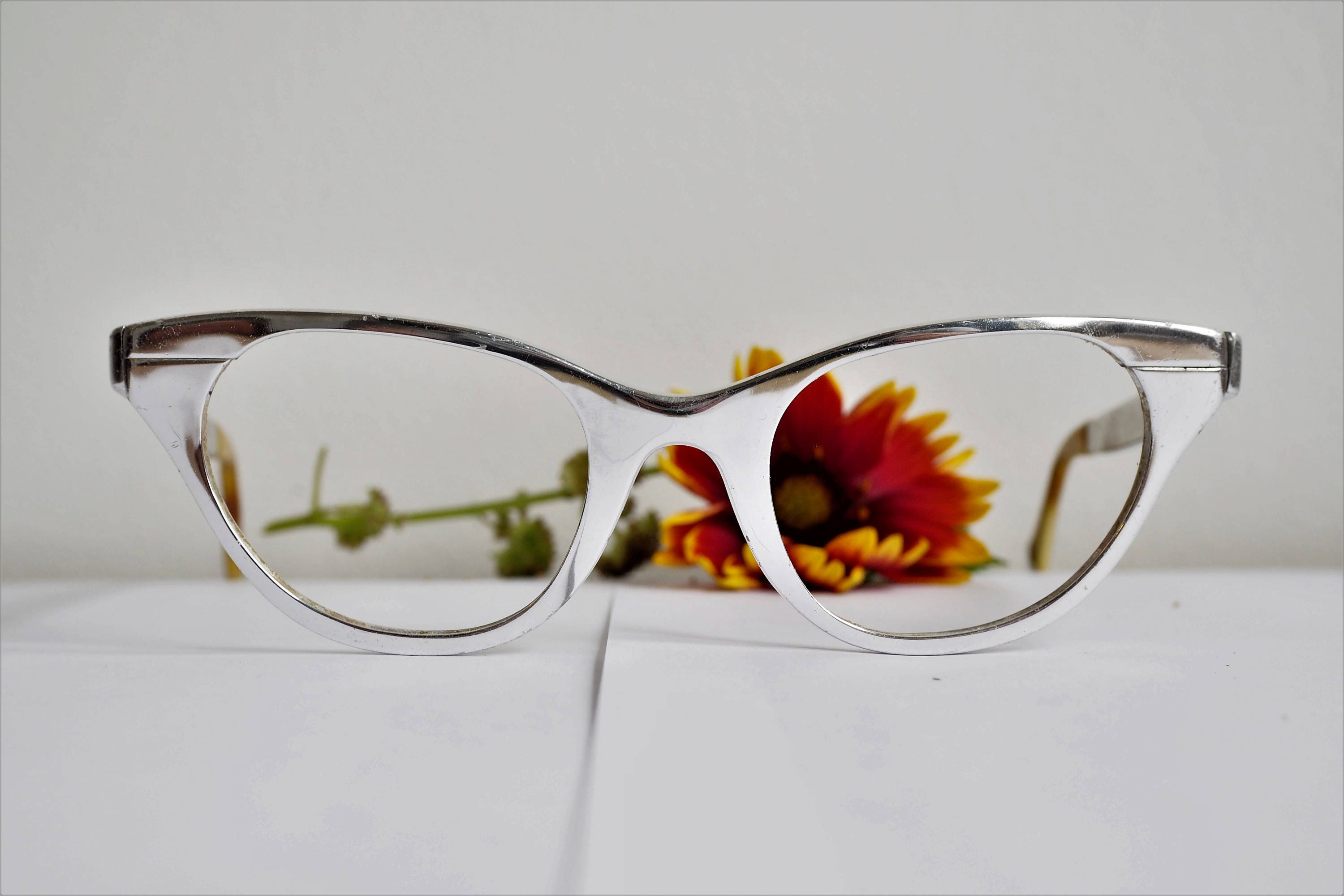 Vintage Eyeglass Cat Eye Glasses 1960\'s Tura Frames All Metal Silver ...