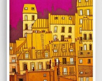 30% OFF SALE: Paris,Montmartre (colored version) - Paris illustration Art illustration Paris art poster Paris decor Living room art Wall dec