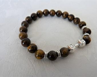 Tiger eye beads and silver men bracelet
