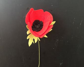 Felt Poppy - Build your own Bouquet - Felt Flowers A La Carte