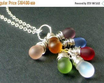 VALENTINE SALE STERLING Silver Wire Wrapped Cluster Necklace with Frosted Glass Teardrop Charms. Handmade Jewelry.