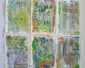 gelli print paper altered thesaurus pages art journal mixed media collage doodle  6 pages