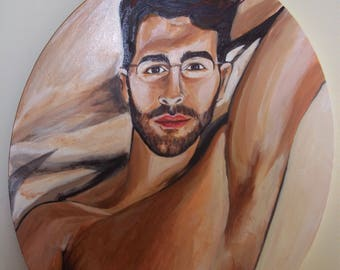 Self Portrait in Acrylic on Oval Canvas Original Artwork Painting Men Shirtless Sexy Scruff Gay Interest