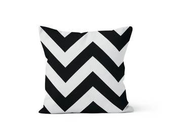 Black Chevron Pillow Cover - Zippy Black - Lumbar 12 14 16 18 20 22 24 26 Euro - Hidden Zipper Closure