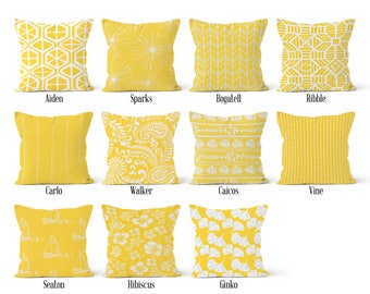 Yellow Pillow Cover, Decorative Throw Pillow Covers, Euro Pillow Sham 16 x 16, 18 x 18, 20 x 20, 22 x 22, 24 x 24, 26 x 26