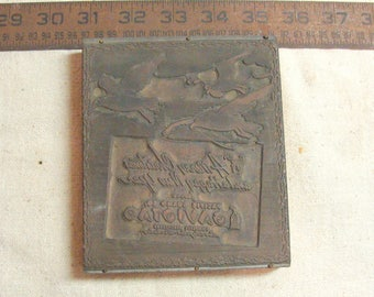 "Rare Old Pacific Guano Co. Gaviota ""A Very Merry Christmas & Happy New Year "" Printers Block 4.5"" x 5.25"""