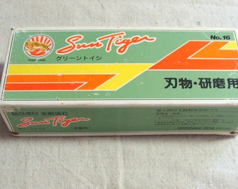 Vintage Unused Sun Tiger Sharpening Stone No. 16, Large Water Stone Whetstone, Knife Blade Sharpening