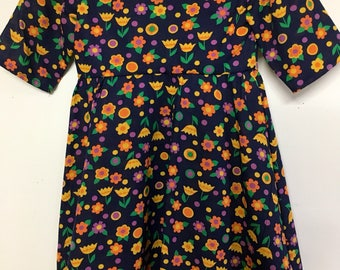 Blue floral girls sz 8 dress
