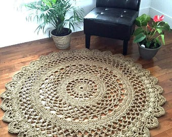 Giant crochet doily rug, Giant jute rug, large jute rug, 4.10 foot jute rug, mandala rug, crochet round rug, outdoor rug--READY TO SHIP