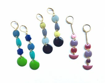Colourful Geometric Mismatching Enamel Earrings