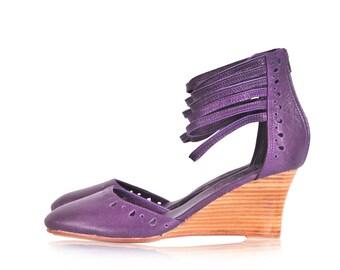 SALE. Sz. 8. ANATOLIA. Leather wedges / women shoes / wedge shoes / women wedges / boheimian shoes.