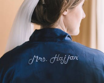 Customized Bridal Robe, Navy Blue Brides Robe, Bride and Bridesmaid Wedding Robe, Personalized Robe, Crystal Rhinestone Robe