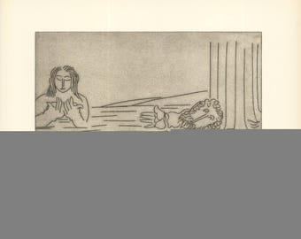 Ben-Zion-Enkidu Stares at the Priestess Bathing (VIII)-1966 Etching-SIGNED