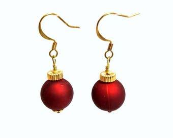satin red holiday tree ornament earrings hypoallergenic earrings nickel free earrings red gold beaded earrings dangle drop jewelry