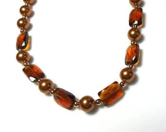 copper freshwater pearl amber glass bead necklace earrings beaded necklace brown pearl necklace beaded jewelry copper pearl jewelry set