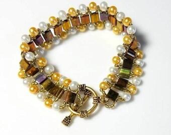 Metallic Golden Rainbow Tila Beads Woven Cuff Bracelet with White Gold Pearls Beaded Seed Beads Bracelet Unique Modern Beadwork Jewelry