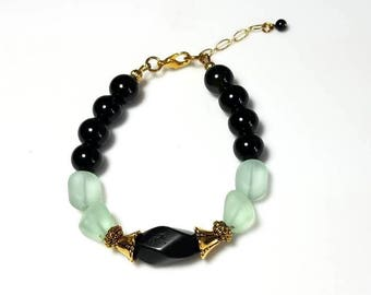 black obsidian gemstone green recycled glass bead bracelet natural stone jewelry Your Choice! You Choose: silver or gold findings