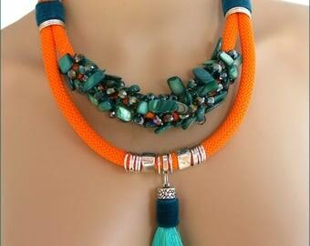 Bib - orange rope, turquoise Pearl necklace, velvet, tassel and metal