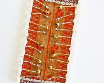 Ethnic card - music of India - bells, flowers fabric, embroidery, pearls, rhinestones - creating unique artist